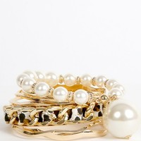 Chain Pearl Bangle Set | MakeMeChic.com