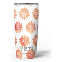 The Red Orange Watercolor Daisies - Skin Decal Vinyl Wrap Kit compatible with the Yeti Rambler Cooler Tumbler Cups