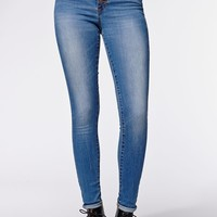 Kendall & Kylie Exposed Button Super High Rise Skinniest Jeans - Womens Jeans - Blue -
