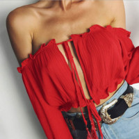 Fashion Hollow Off Shoulder Long Sleeve Chiffon T-shirt Crop Top