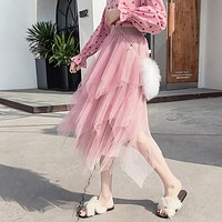 Elegant Women Ball Gown Tulle Skirt Spring Elastic High Waist Mesh Long Skirt