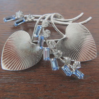 Vintage Sterling Double Hearts with Rhinestone Baguettes Brooch
