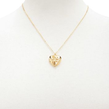 Rose-Embellished Locket Necklace