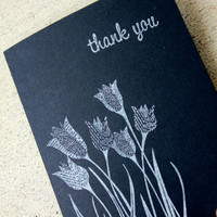 Thank You Card Set, Black & White Thank You Cards, Simple Thank You Cards, Elegant Thank You Cards, Blank Card Set, Set of 5 Thank You Cards