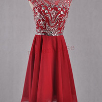 Wine Red Beaded Short Prom Dresses 2015, Backless Bridesmaid Dresses, Hot Party Dresses, Homecoming Dresses,wedding Party Dress,Sexy Dresses