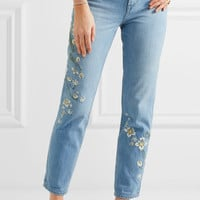 Madewell - Embroidered high-rise straight-leg jeans