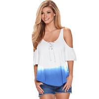 Fashion Women Cut Out Shoulder Blouse Shirt Casual Summer Lace Up Tops Loose