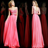 Red coral bridesmaid dresses Lace chiffon bridesmaid dress New Long Party Ball Prom Gown Formal Bridesmaid Dress