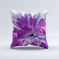 Vivid Purple Flower ink-Fuzed Decorative Throw Pillow