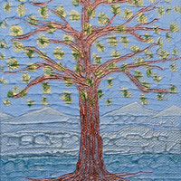 Orman Tree #09, a miniature acrylic painting with the ancient symbol of the mystical tree and spiritual meaning