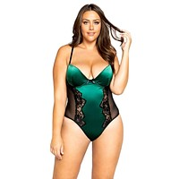 Sexy Show Me Love Plus Size Lace and Satin Snap Bottom Teddy
