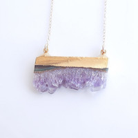 Druzy Amethyst Necklace in Gold - February Birthday - OOAK - Best Selling Necklace Jewelry