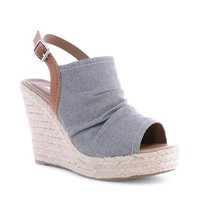Gray Kyria Espadrille Wedge Sandals