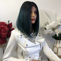 "Green Black Middle Part Bob Short Hair Lace Front Wig 8""  Forest 1218 60"