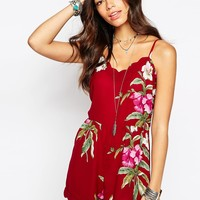 Band Of Gypsies Overscale Hawaiian Floral Playsuit With Scallop Trim