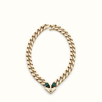 FENDI | BAG BUGS NECKLACE in metal with pearl and green rhinestones