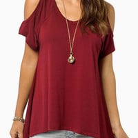 V Neck Shoulder Cutout Short Sleeve T-shirt