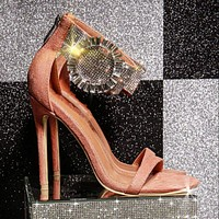 Fashion Fish Mouth Rhinestone Zipper Stiletto High Heel Sandals Nightclub All-match