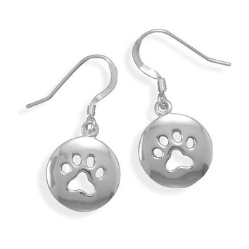 Sterling Silver Cut Out Paw Print Earrings