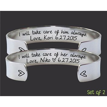 Mother of the Bride / Mother of the Groom Promise Bracelet Set