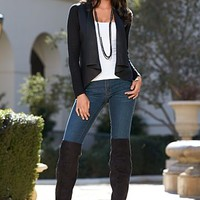Faux Leather Open Cardigan