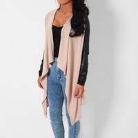 Mocchiato Nude & Black Waterfall Drape Knit Cardigan | Pink Boutique