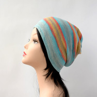 Womens hat fashion gift spring hat young women hat knit gift for her Hippie Hat slouchy beanie colorful unique gift vegan gift