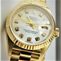 ROLEX LADY PRESIDENT, 18K GOLD, MOTHER OF PEARL DIAMOND DIAL, EXCELLENT BRACELET