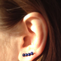 Ear Pin Earrings, Lapis Lazuli, Long Stud Earrings, Pin Earrings, Sterling Silver Ear Pin Earrings, Lapis Lazuli Long Stud Earrings.