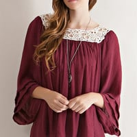 Crochet Neck Peasant Blouse - Burgundy