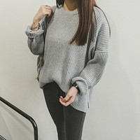 Missting autumn oversized sweater o-neck long-sleeve loose solid color women sweaters and pullovers (A5107)