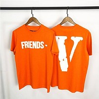 Vlone life limited large V orange short-sleeved Tee men and women couple loose T-shirt