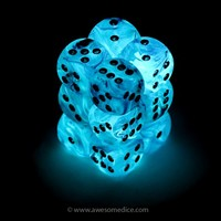 Pink Ghostly Glow in the Dark 12d6 Dice Set | Awesome Dice