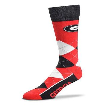 Adult For Bare Feet Georgia Bulldogs Argyle Line Up Crew Socks