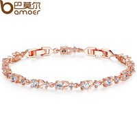 BAMOER 6 Colors Luxury  Rose Gold Plated Chain Bracelet for Women Ladies Shining AAA Cubic Zircon Crystal Jewelry JIB013