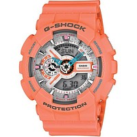 Casio Mens G-Shock XL Dusty Neon - Orange & Silver Metallic 3D Dial