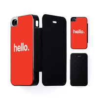 Hello Black Flip Case for Apple iPhone 4 / 4s by textGuy