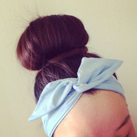 Baby Blue Dolly Bow Headband