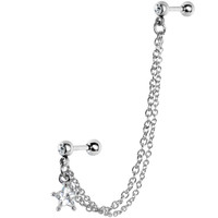 16 Gauge Double Chain Link CZ Star Cartilage Tragus Barbell Earring   Body Candy Body Jewelry