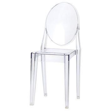 Sophia Ghost Side Chair, Clear (no arms)