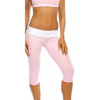 Sexy Roll Down Sport Band Stretch To Fit Shred Capri Yoga Leggings - Baby Pink/White