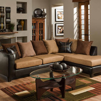 Microfiber & Leather 2pc Sectional - Camel
