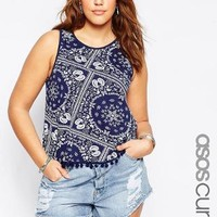 ASOS Curve | ASOS CURVE co-ord Swing Top In Bandana Print With Pom Poms at ASOS