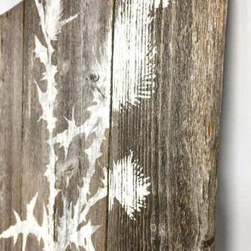 Rustic Farmhouse Decor, Rustic Wall Decor, Thistle Wall Decal, Woodland Nursery Decor, Cottage Chic, Cabin Signs, Reclaimed Wood Signs