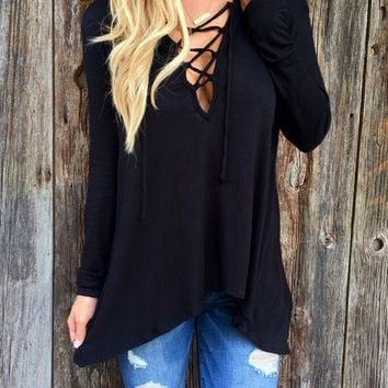 V-Lace Up Front Long Sleeve Hooded T-shirt