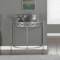 "Silver Metal 36""L Hall Console Accent Table"