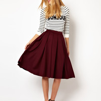 ASOS Full Midi Skirt with Box Pleats at asos.com