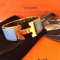 Hermes Enamel Clic Clac H Wide Bangle Cuff Yellow Gold Plated Bracelet PM
