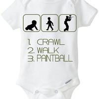 """Funny Silhouette Baby Boy Gift: Gerber Onesuit brand body suit """"1. Crawl 2. Walk 3. Paintball"""" - Perfect new baby gift for Golfing Parents!"""