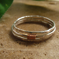 Stacking Ring Set Silver Hammered Copper Wrap